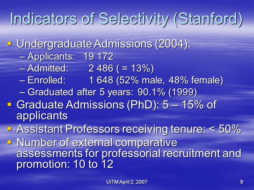 UiTM April 2, 20079 Indicators of Selectivity (Stanford)  Undergraduate Admissions (2004): –Applicants:19 172 –Admitted: 2 486 ( = 13%) –Enrolled: 1 648 (52% male, 48% female) –Graduated after 5 years: 90.1% (1999)  Graduate Admissions (PhD): 5 – 15% of applicants  Assistant Professors receiving tenure: < 50%  Number of external comparative assessments for professorial recruitment and promotion: 10 to 12