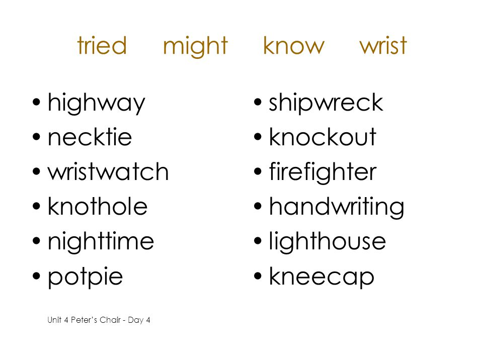 tried might know wrist highway necktie wristwatch knothole nighttime potpie Unit 4 Peter's Chair - Day 4 shipwreck knockout firefighter handwriting li