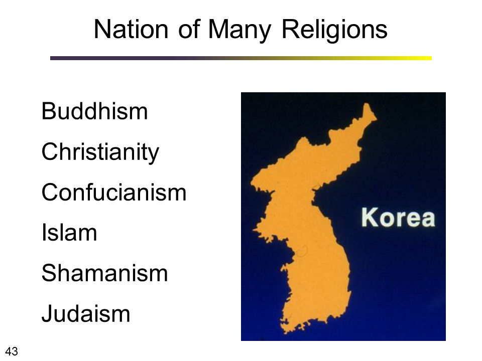 Nation of Many Religions Buddhism Christianity Confucianism Islam Shamanism Judaism 43