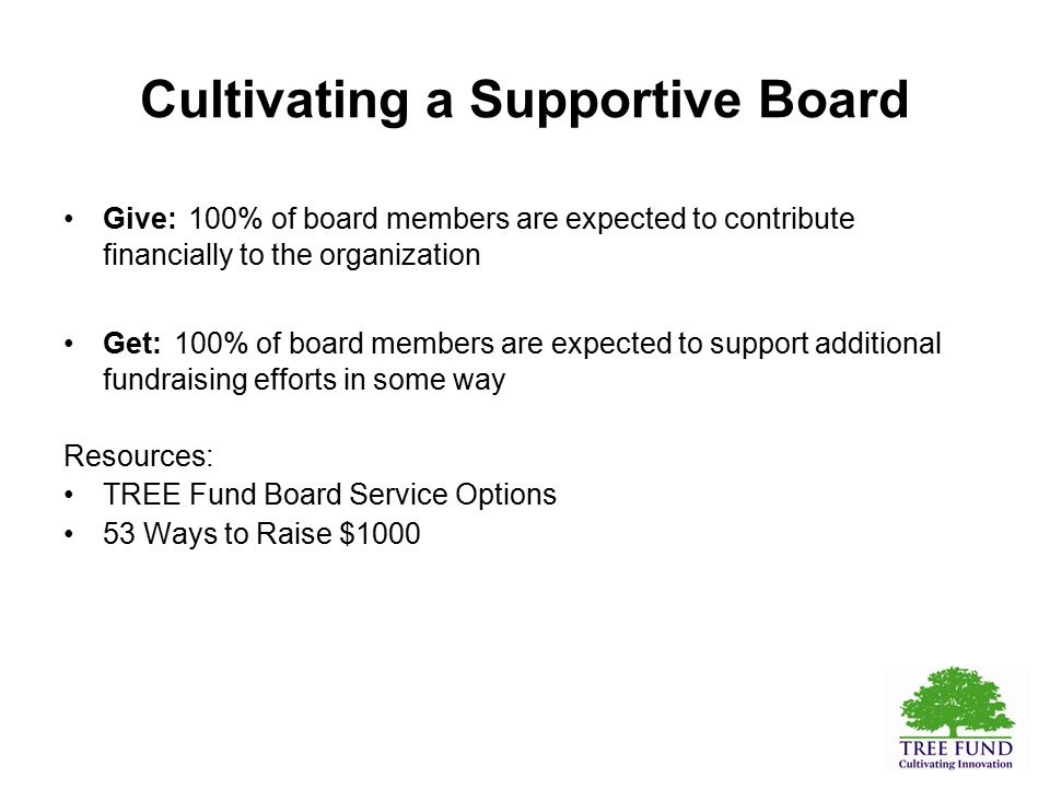 Cultivating a Supportive Board Give: 100% of board members are expected to contribute financially to the organization Get: 100% of board members are expected to support additional fundraising efforts in some way Resources: TREE Fund Board Service Options 53 Ways to Raise $1000