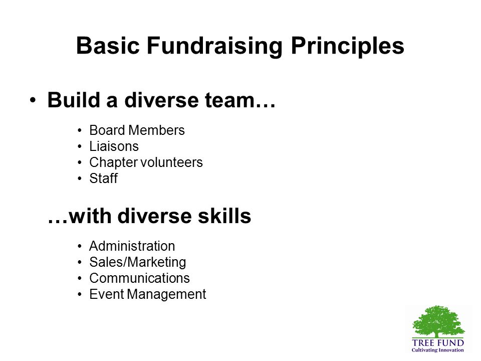 Basic Fundraising Principles Build a diverse team… Board Members Liaisons Chapter volunteers Staff …with diverse skills Administration Sales/Marketing Communications Event Management