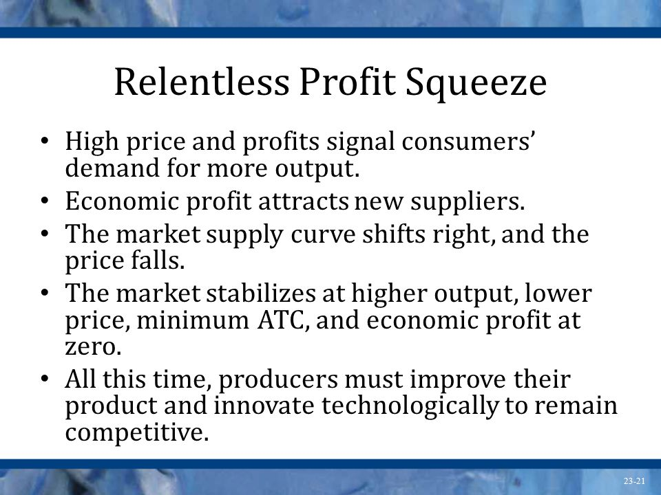 23-21 Relentless Profit Squeeze High price and profits signal consumers' demand for more output.