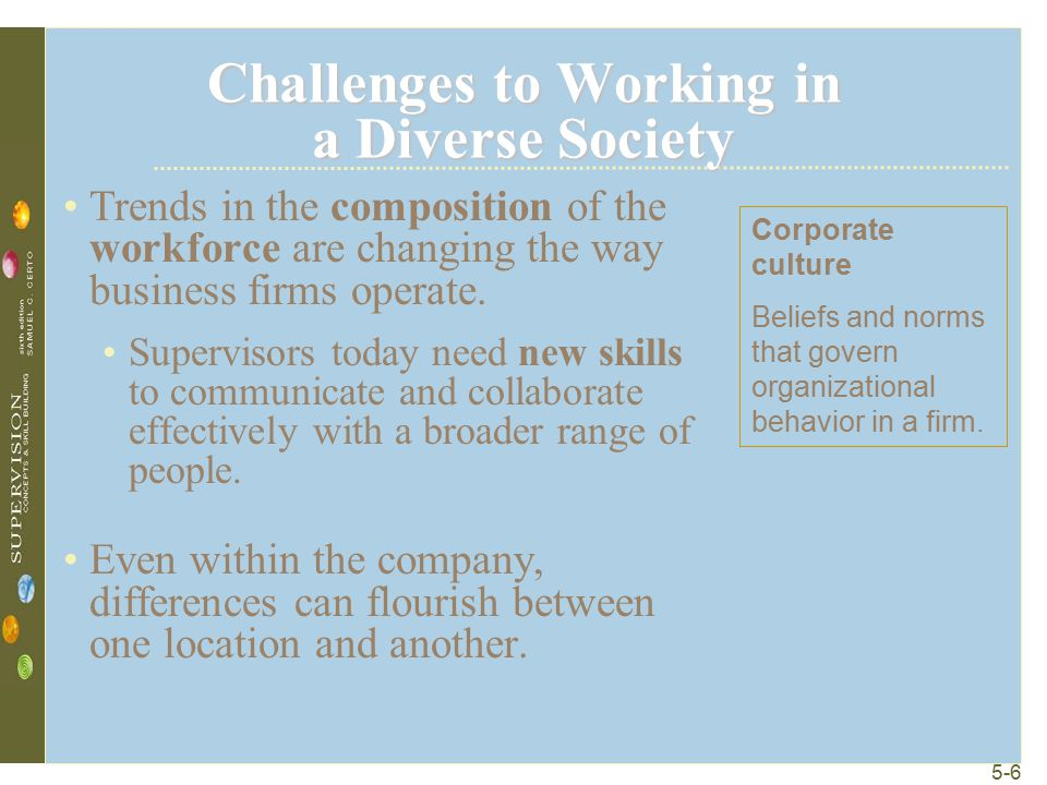 5-6 Challenges to Working in a Diverse Society Trends in the composition of the workforce are changing the way business firms operate. Supervisors tod