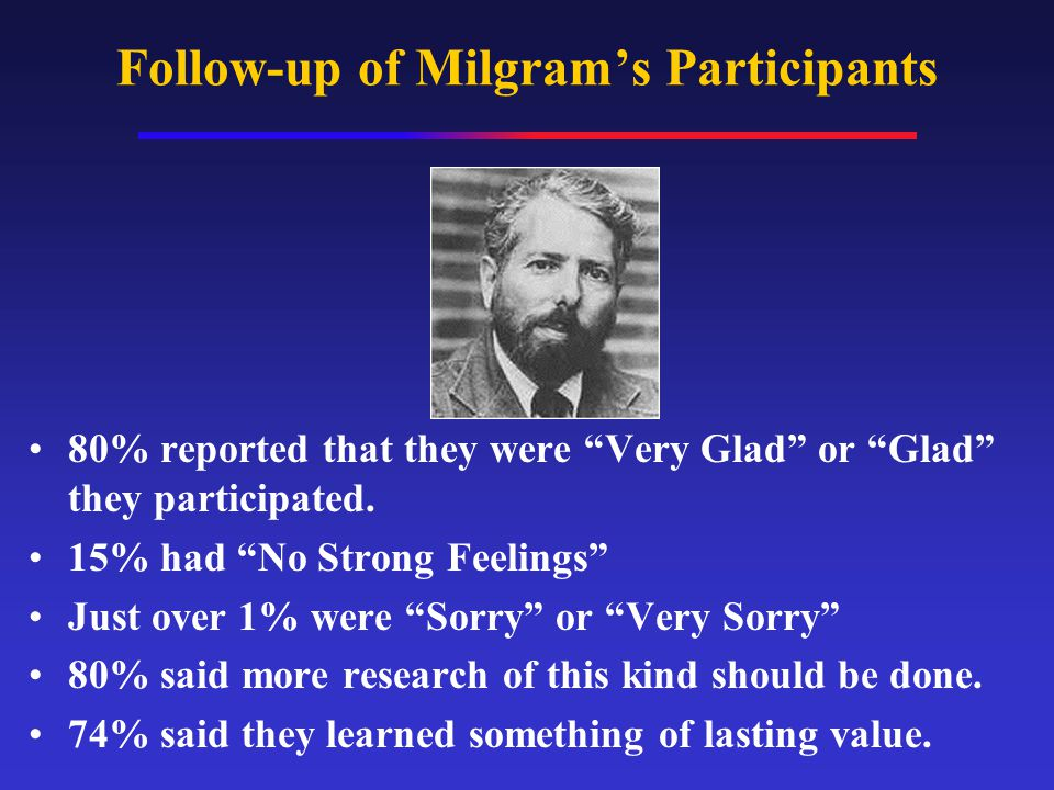 "Follow-up of Milgram's Participants 80% reported that they were ""Very Glad"" or ""Glad"" they participated. 15% had ""No Strong Feelings"" Just over 1% wer"
