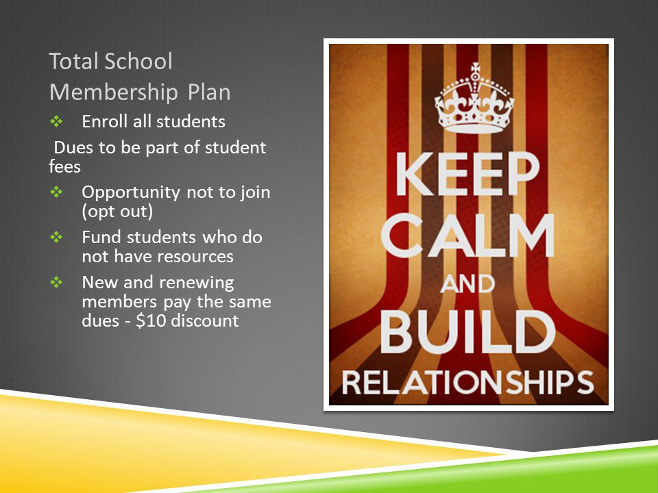 Total School Membership Plan  Enroll all students Dues to be part of student fees  Opportunity not to join (opt out)  Fund students who do not have resources  New and renewing members pay the same dues - $10 discount