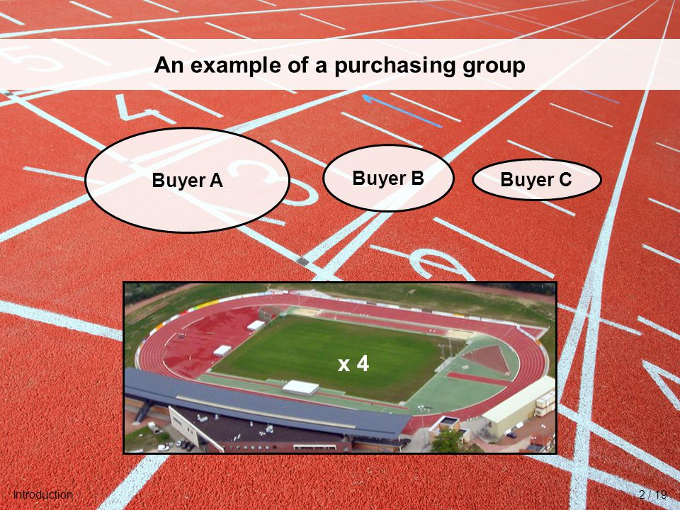 University of Twente Initiative for Purchasing Studies (UTIPS) 3/16 An example of a purchasing group Buyer B Buyer C Buyer A x 4 Introduction2 / 19