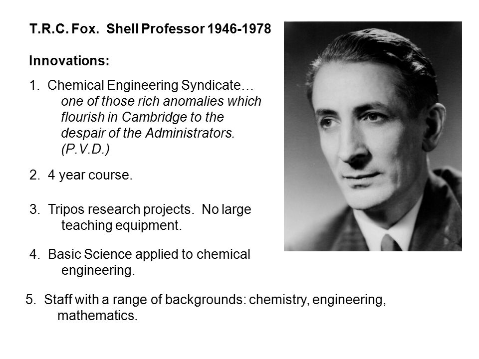 T.R.C. Fox. Shell Professor 1946-1978 Innovations: 1.