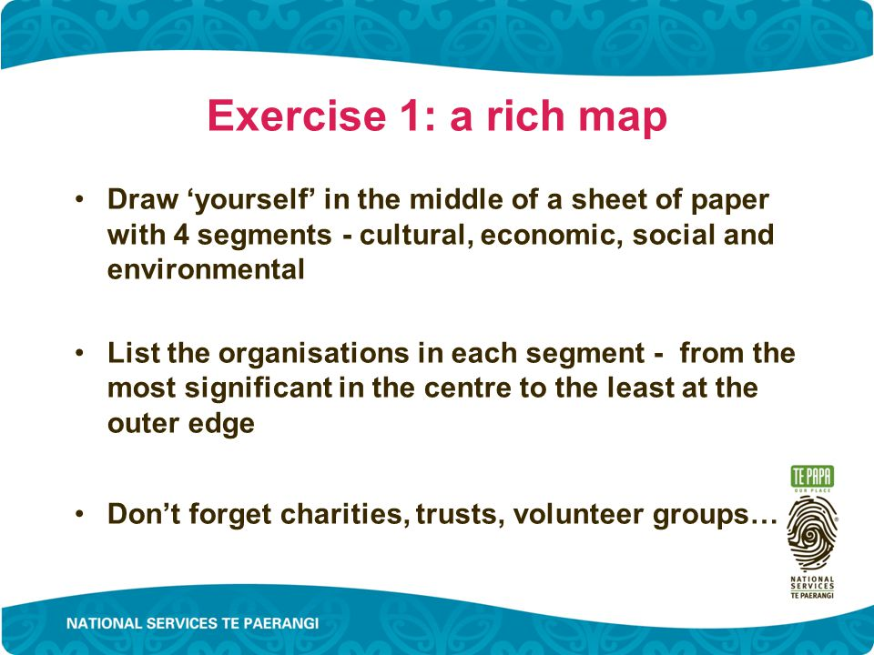 Exercise 1: a rich map Draw 'yourself' in the middle of a sheet of paper with 4 segments - cultural, economic, social and environmental List the organisations in each segment - from the most significant in the centre to the least at the outer edge Don't forget charities, trusts, volunteer groups…