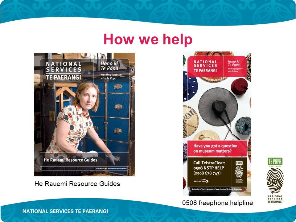 How we help He Rauemi Resource Guides 0508 freephone helpline