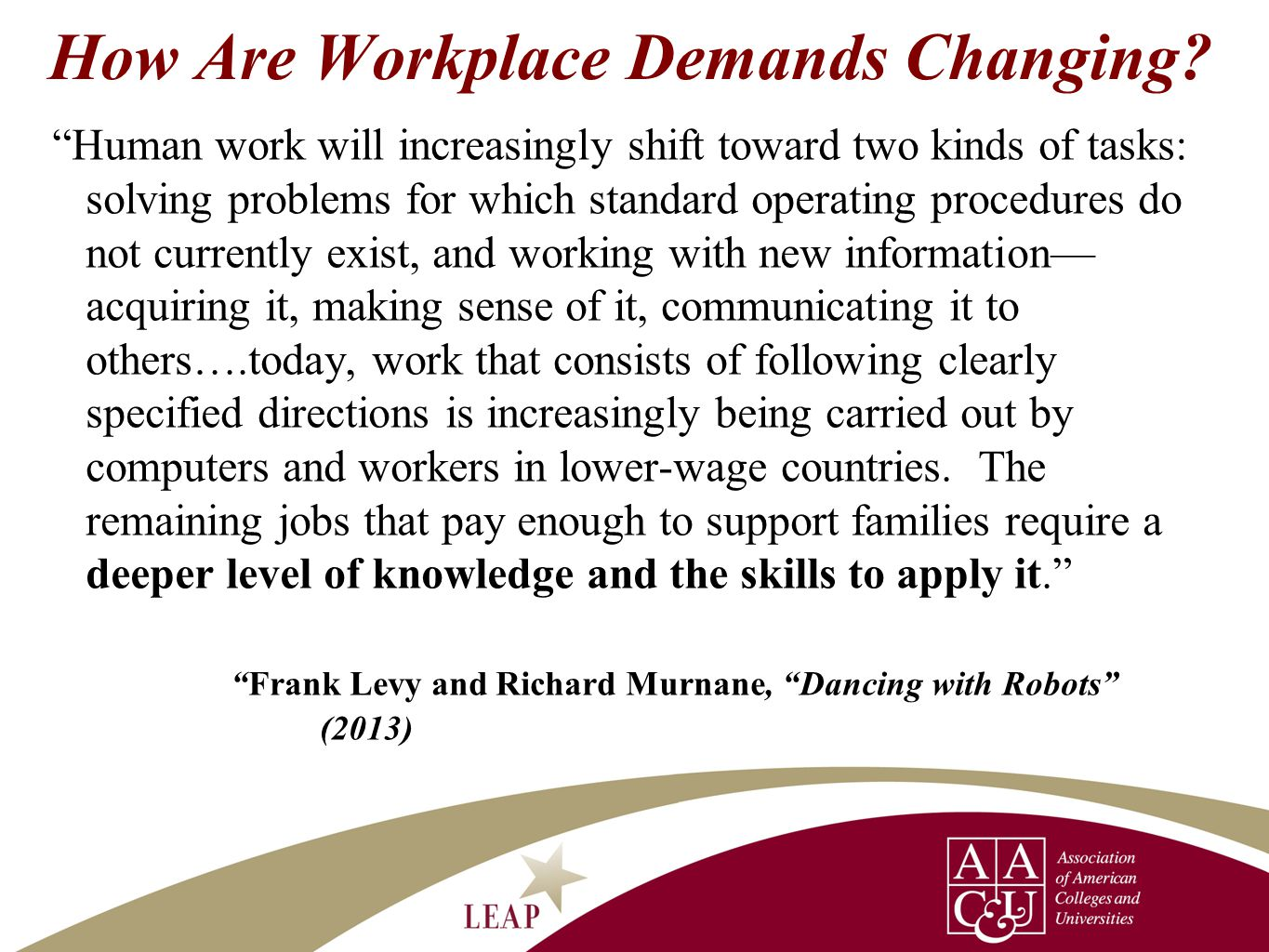 """How Are Workplace Demands Changing? """"Human work will increasingly shift toward two kinds of tasks: solving problems for which standard operating proce"""