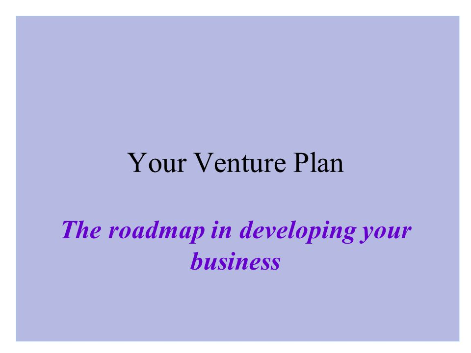 Your Venture Plan The roadmap in developing your business