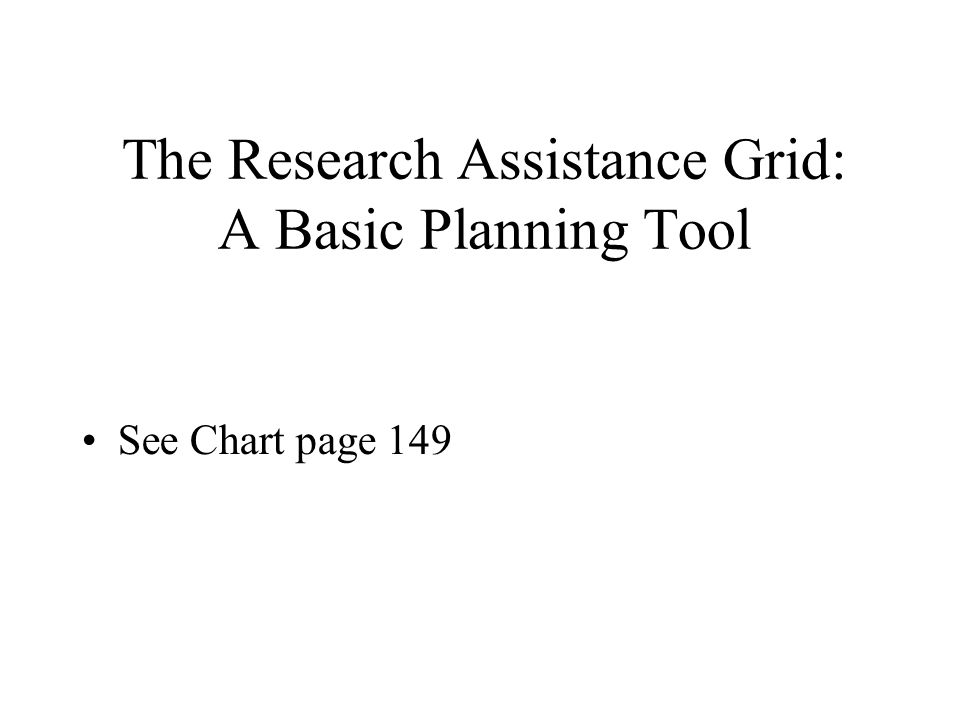 The Research Assistance Grid: A Basic Planning Tool See Chart page 149