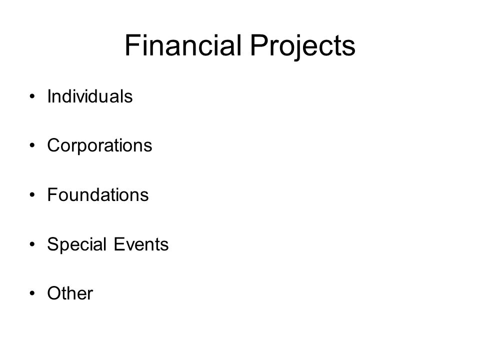 Financial Projects Individuals Corporations Foundations Special Events Other