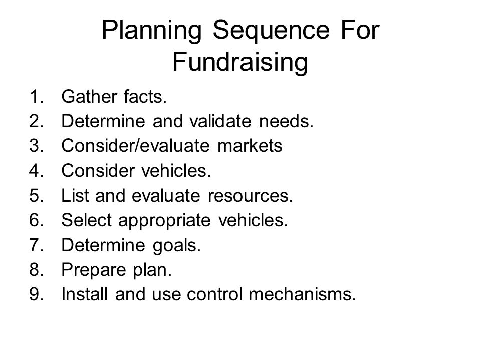 Planning Sequence For Fundraising 1.Gather facts. 2.Determine and validate needs. 3.Consider/evaluate markets 4.Consider vehicles. 5.List and evaluate