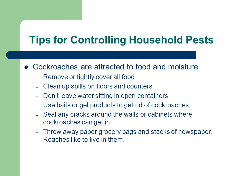 Tips for Controlling Household Pests Cockroaches are attracted to food and moisture – Remove or tightly cover all food – Clean up spills on floors and