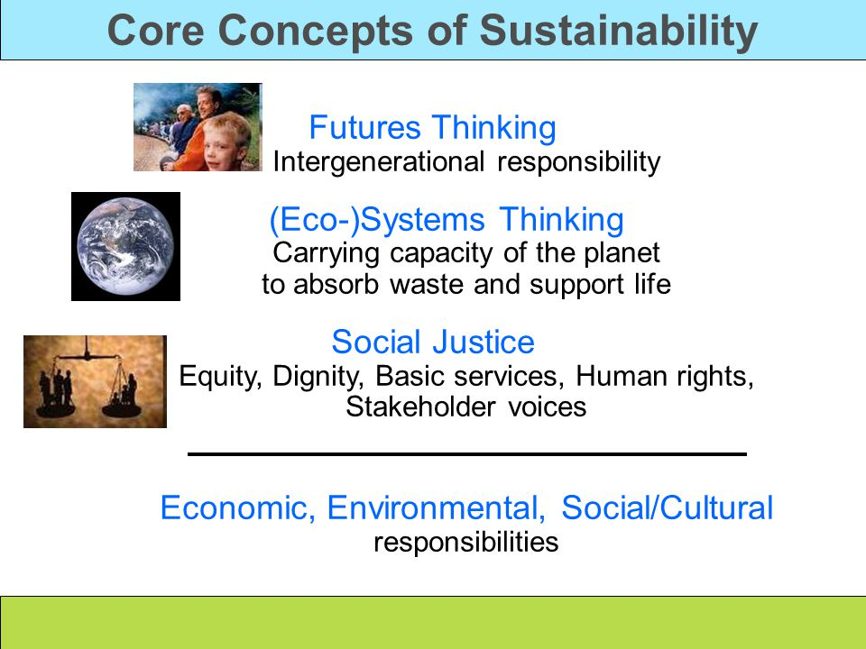 Core Concepts of Sustainability Futures Thinking Intergenerational responsibility (Eco-)Systems Thinking Carrying capacity of the planet to absorb waste and support life Social Justice Equity, Dignity, Basic services, Human rights, Stakeholder voices Economic, Environmental, Social/Cultural responsibilities