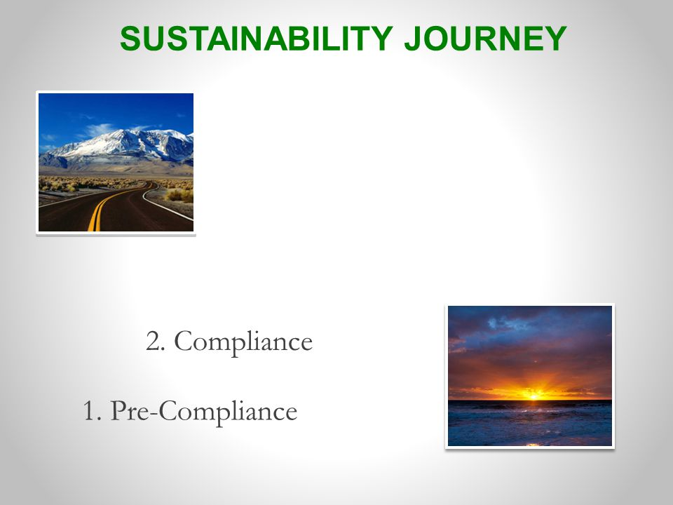 1. Pre-Compliance 2. Compliance SUSTAINABILITY JOURNEY