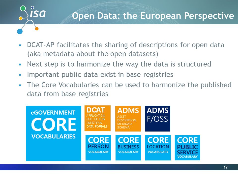 17 DCAT-AP facilitates the sharing of descriptions for open data (aka metadata about the open datasets) Next step is to harmonize the way the data is structured Important public data exist in base registries The Core Vocabularies can be used to harmonize the published data from base registries Open Data: the European Perspective
