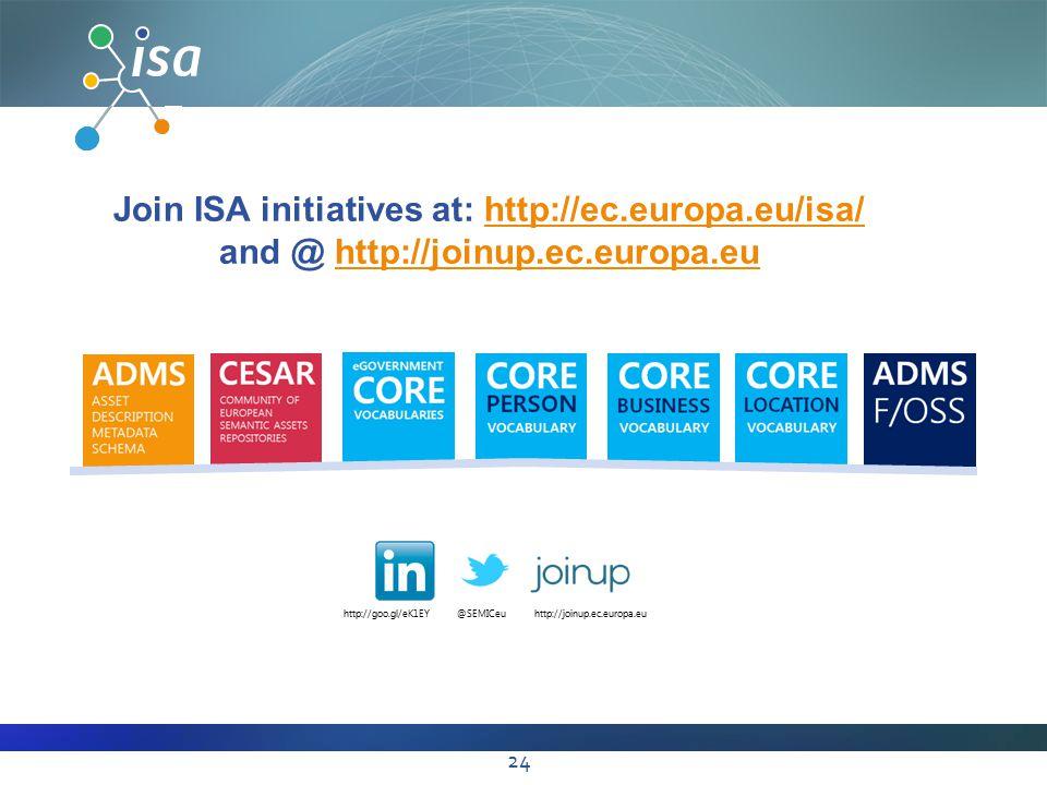 Join ISA initiatives at: http://ec.europa.eu/isa/http://ec.europa.eu/isa/ and @ http://joinup.ec.europa.euhttp://joinup.ec.europa.eu http://goo.gl/eK1EY@SEMICeuhttp://joinup.ec.europa.eu 24