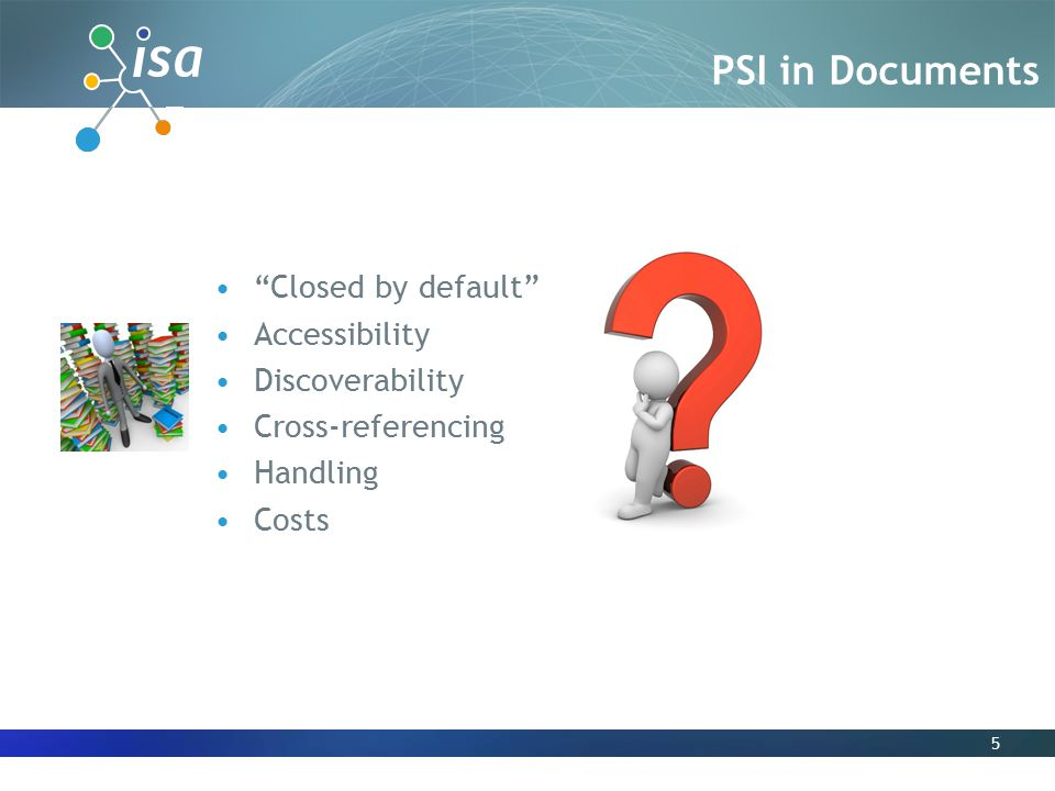 5 Closed by default Accessibility Discoverability Cross-referencing Handling Costs PSI in Documents