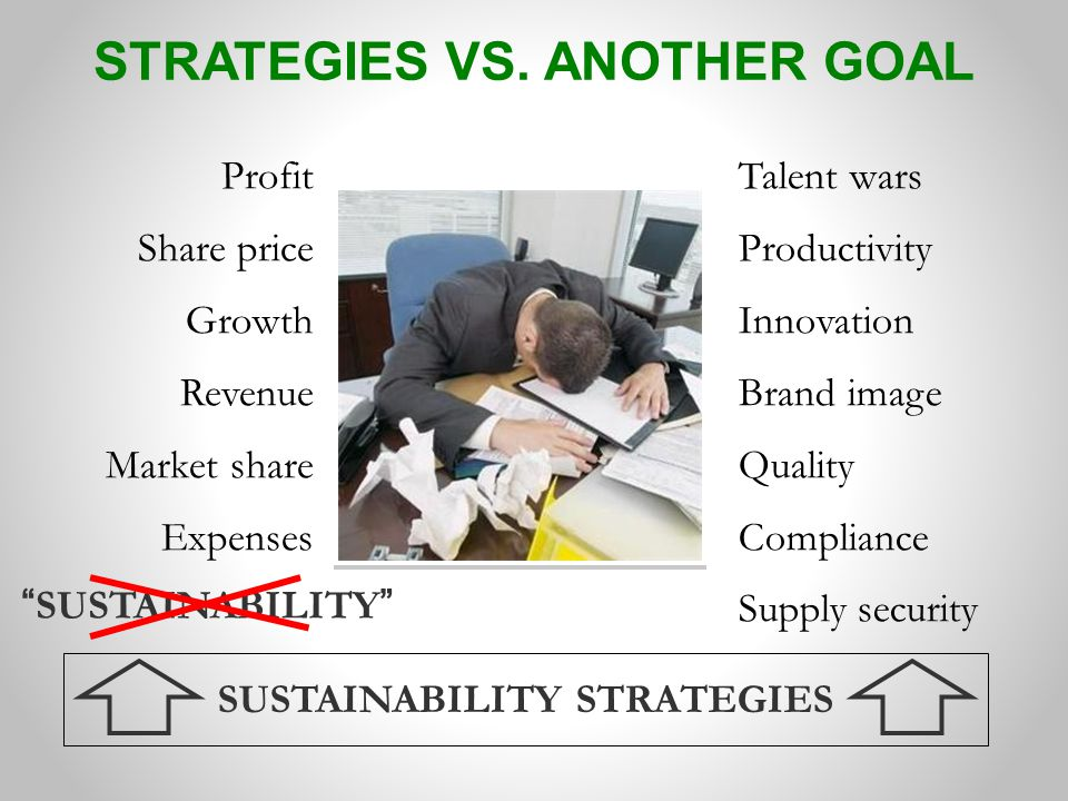 Talent wars Productivity Innovation Brand image Quality Compliance Supply security Profit Share price Growth Revenue Market share Expenses SUSTAINABILITY STRATEGIES SUSTAINABILITY STRATEGIES VS.