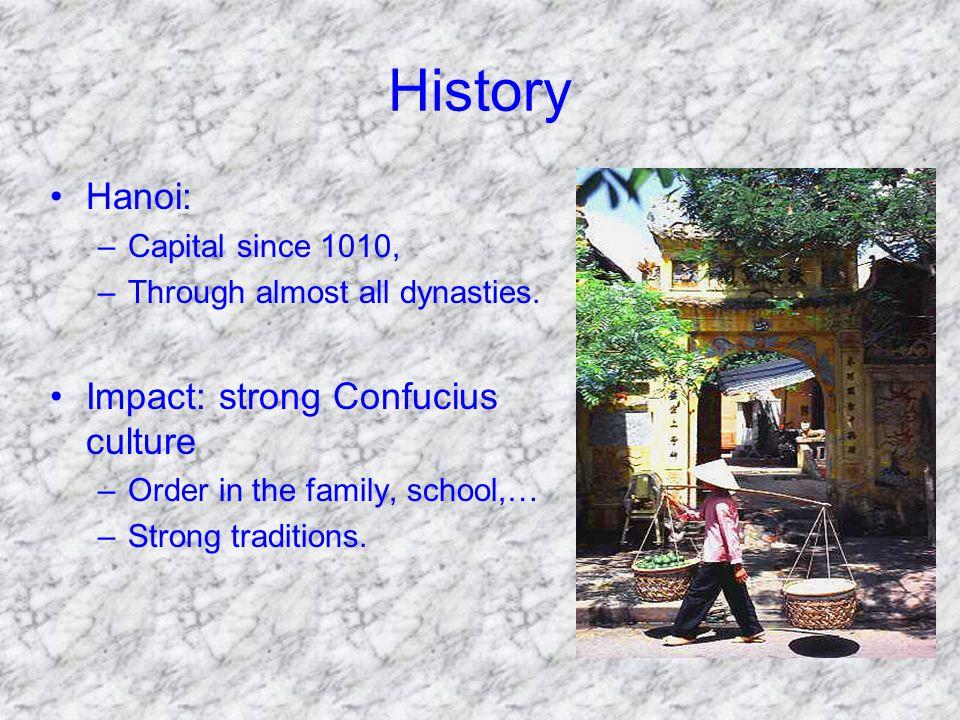 History Hanoi: –Capital since 1010, –Through almost all dynasties.