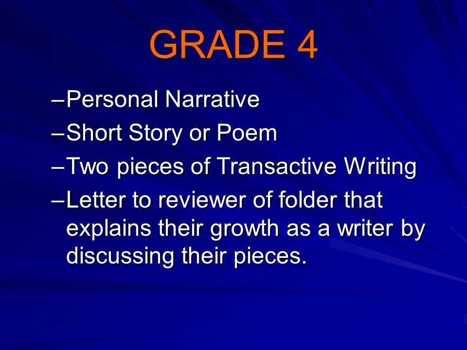 GRADE 4 –Personal Narrative –Short Story or Poem –Two pieces of Transactive Writing –Letter to reviewer of folder that explains their growth as a writ