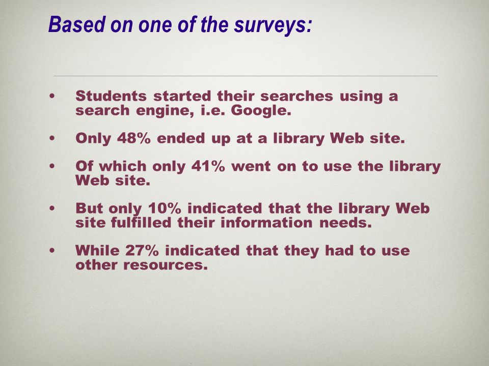 Based on one of the surveys: Students started their searches using a search engine, i.e.
