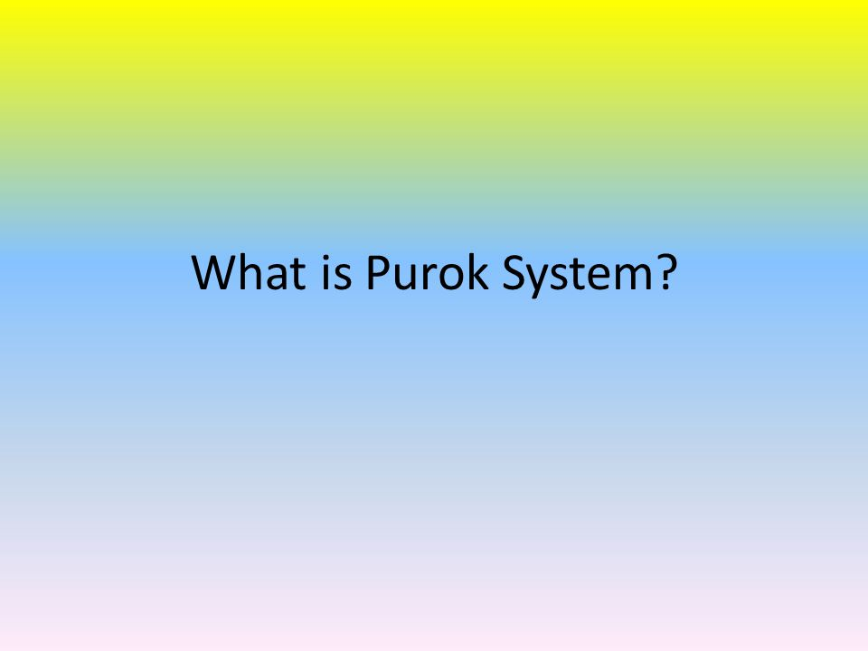 Sanfran Purok System.