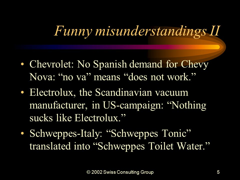 © 2002 Swiss Consulting Group4 Funny misunderstandings I The ubiquitous Got Milk? campaign didn't quite work with the Hispanic markets.