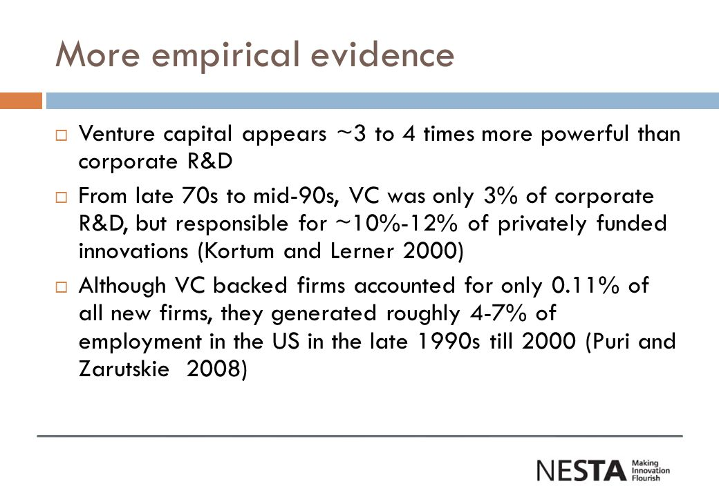 More empirical evidence  Venture capital appears ~3 to 4 times more powerful than corporate R&D  From late 70s to mid-90s, VC was only 3% of corporate R&D, but responsible for ~10%-12% of privately funded innovations (Kortum and Lerner 2000)  Although VC backed firms accounted for only 0.11% of all new firms, they generated roughly 4-7% of employment in the US in the late 1990s till 2000 (Puri and Zarutskie 2008)