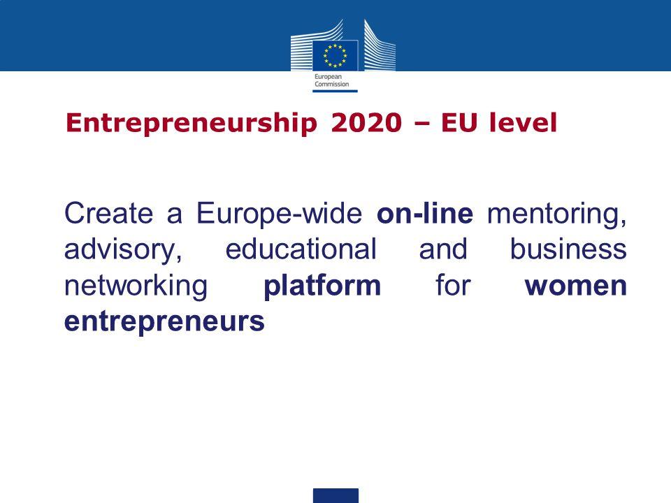Create a Europe-wide on-line mentoring, advisory, educational and business networking platform for women entrepreneurs Entrepreneurship 2020 – EU level