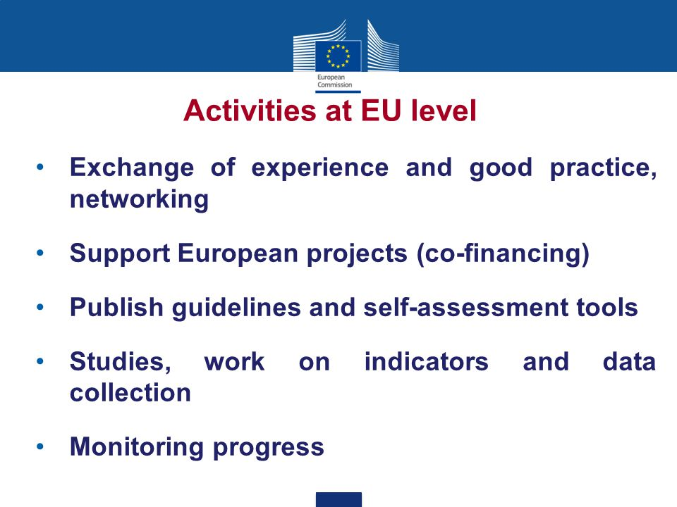 Exchange of experience and good practice, networking Support European projects (co-financing) Publish guidelines and self-assessment tools Studies, work on indicators and data collection Monitoring progress Activities at EU level