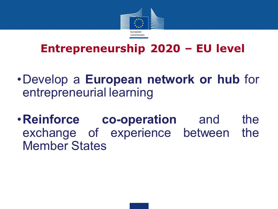 Entrepreneurship 2020 – EU level Develop a European network or hub for entrepreneurial learning Reinforce co-operation and the exchange of experience between the Member States