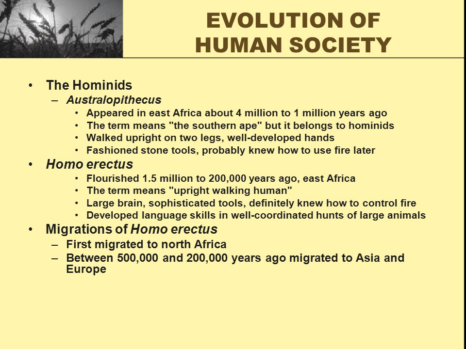 HOMO SAPIENS Homo sapiens –The term means consciously thinking human –Evolved as early as 250,000 years ago –Brain with large frontal regions for conscious and reflective thought –The advantages of intelligence over other species Migrations of Homo sapiens –Beginning more than 100,000 years ago, spread throughout Eurasia –Several ice ages between 120 and 25 thousand years ago –Land bridges enabled them to populate islands of Indonesia and New Guinea –Arrived in Australia at least 60,000 or perhaps as long as 120,000 years ago –Between 40,000 and 25,000 years ago, migrated to North America The natural environment –Homo sapiens used knives, spears, bows, and arrows –Brought tremendous pressure on other species