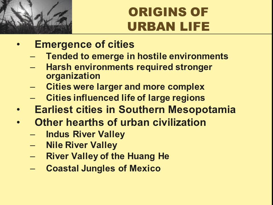 ORIGINS OF URBAN LIFE Emergence of cities –Tended to emerge in hostile environments –Harsh environments required stronger organization –Cities were larger and more complex –Cities influenced life of large regions Earliest cities in Southern Mesopotamia Other hearths of urban civilization –Indus River Valley –Nile River Valley –River Valley of the Huang He –Coastal Jungles of Mexico