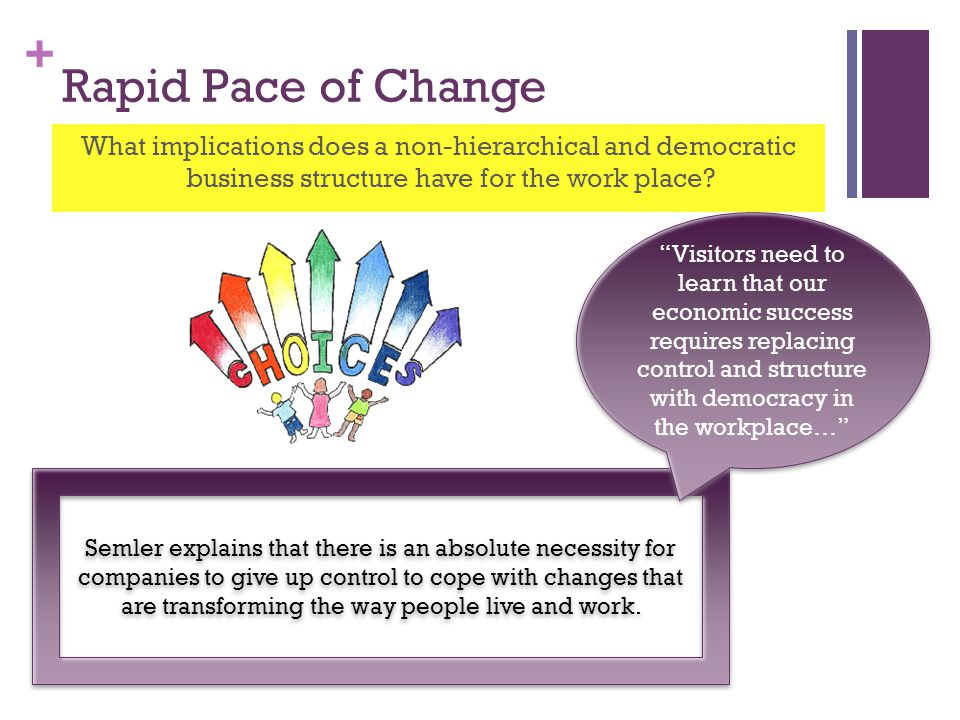+ Rapid Pace of Change What implications does a non-hierarchical and democratic business structure have for the work place.