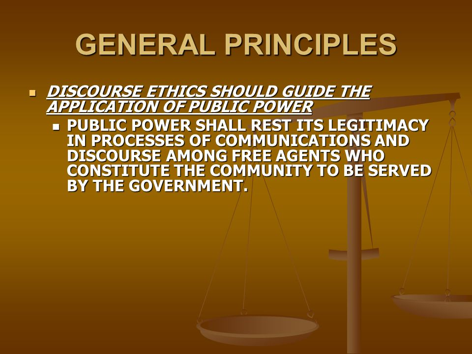GENERAL PRINCIPLES THE CIVIC ORDER MUST NOT FORGET ITS DUTY TO CITIZENS THE CIVIC ORDER MUST NOT FORGET ITS DUTY TO CITIZENS THE CIVIC ORDER PROTECTS AND PROMOTES THE INTEGRITY, DIGNITY, AND SELF RESPECT OF ITS MEMBERS IN THEIR CAPACITY AS CITIZENS AND MUST AVOID ALL MEASURES, OPPRESIVE AND OTHER, WHOSE TENDENCY IS TO TRANSFORM THE CITIZEN INTO A SUBJECT.