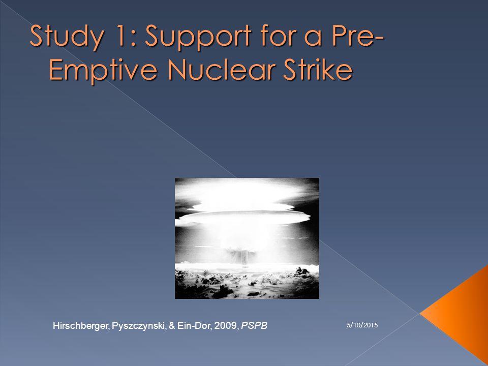 5/10/2015 Study 1: Support for a Pre- Emptive Nuclear Strike Hirschberger, Pyszczynski, & Ein-Dor, 2009, PSPB