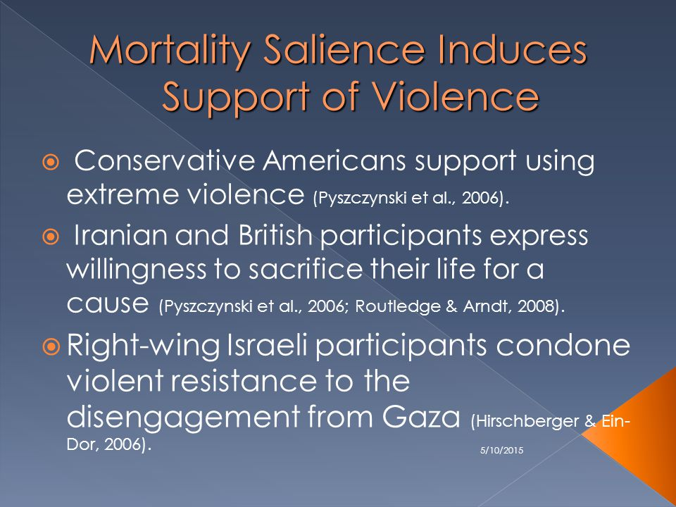 5/10/2015 Mortality Salience Induces Support of Violence  Conservative Americans support using extreme violence (Pyszczynski et al., 2006).