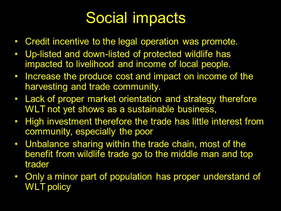 Social impacts Credit incentive to the legal operation was promote.