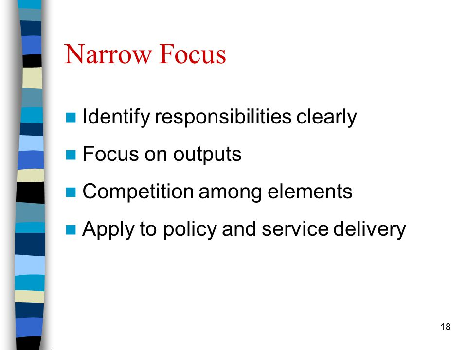 18 Narrow Focus Identify responsibilities clearly Focus on outputs Competition among elements Apply to policy and service delivery