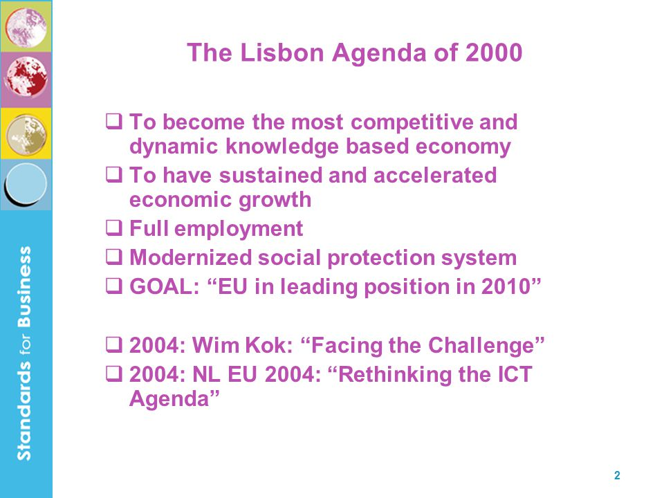 3 Table of Contents  The Lisbon Agenda of 2000  The breakthroughs needed  Development of the environment  Standardization should …  Dealing with disruption  R&D and standardization  High mobility  Automotive Radar  5GHz RadioLAN  Conclusion