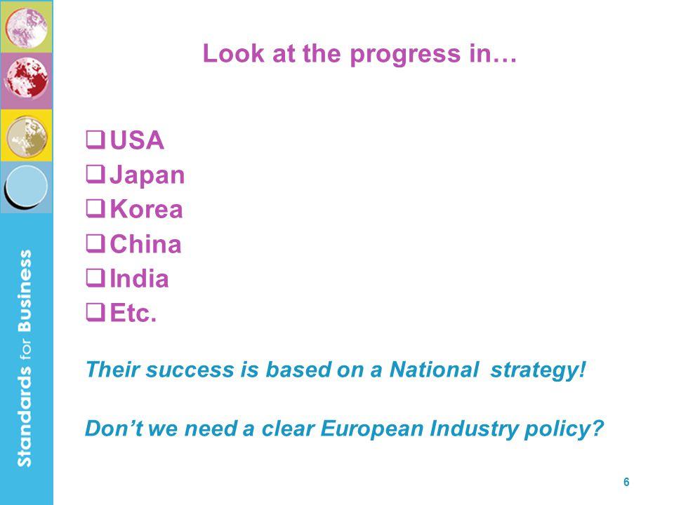 6 Look at the progress in…  USA  Japan  Korea  China  India  Etc.