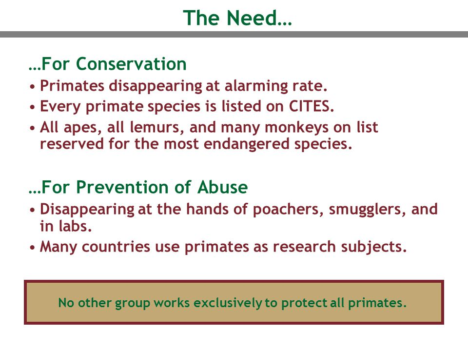 The Need… …For Conservation Primates disappearing at alarming rate. Every primate species is listed on CITES. All apes, all lemurs, and many monkeys o