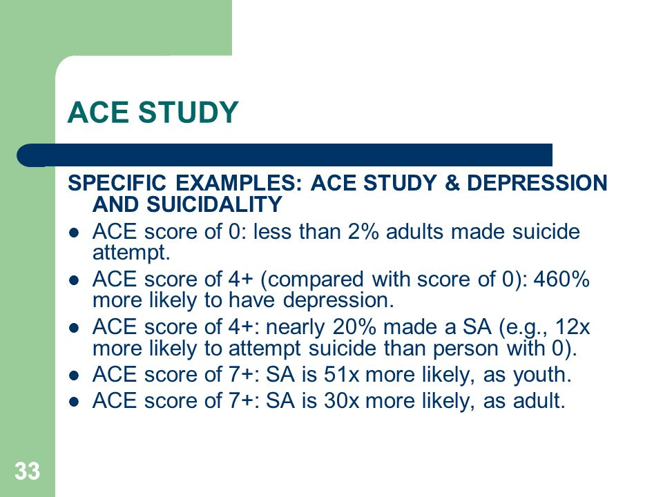 33 ACE STUDY SPECIFIC EXAMPLES: ACE STUDY & DEPRESSION AND SUICIDALITY ACE score of 0: less than 2% adults made suicide attempt. ACE score of 4+ (comp