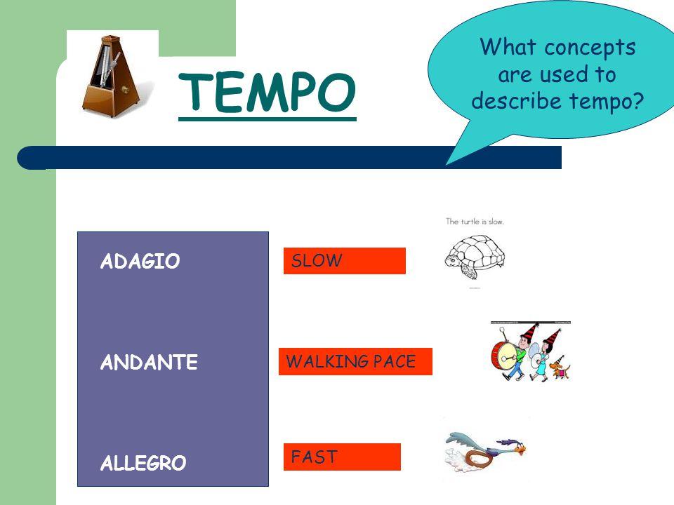 TEMPO What concepts are used to describe tempo? ADAGIO ANDANTE ALLEGRO WALKING PACE FAST SLOW