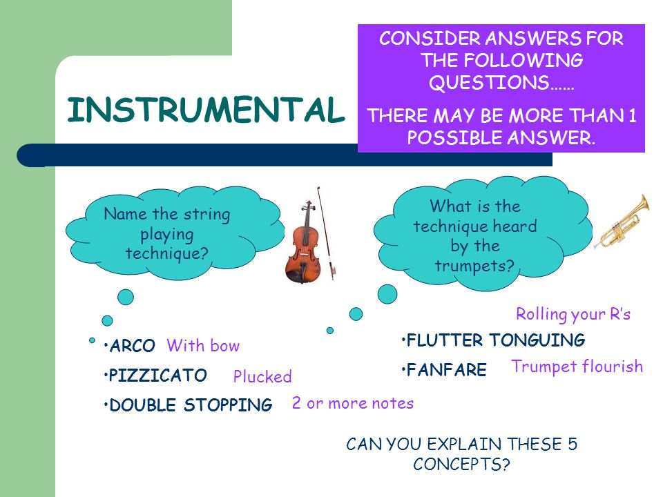 INSTRUMENTAL Name the string playing technique? CONSIDER ANSWERS FOR THE FOLLOWING QUESTIONS…… THERE MAY BE MORE THAN 1 POSSIBLE ANSWER. What is the t
