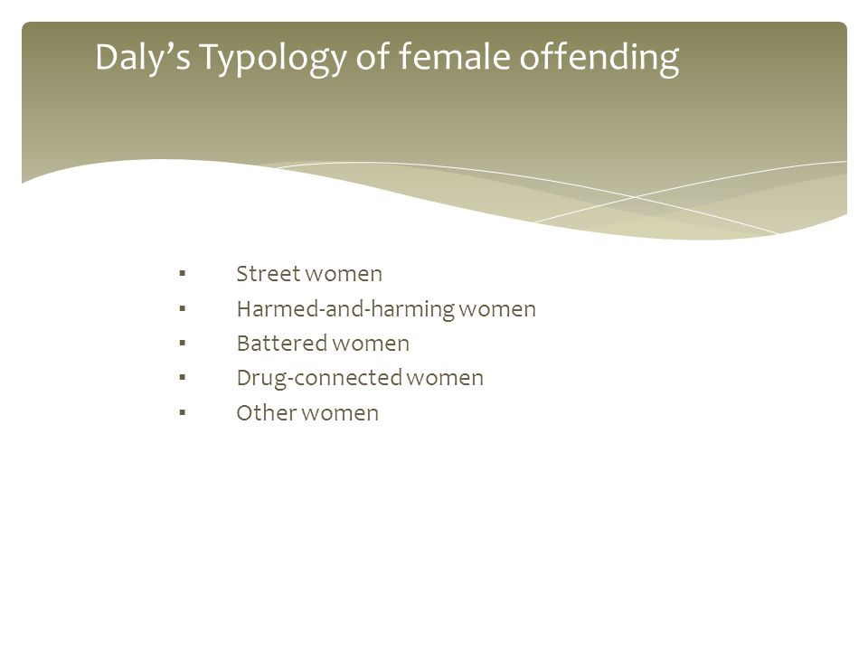 ▪ Street women ▪ Harmed-and-harming women ▪ Battered women ▪ Drug-connected women ▪ Other women Daly's Typology of female offending
