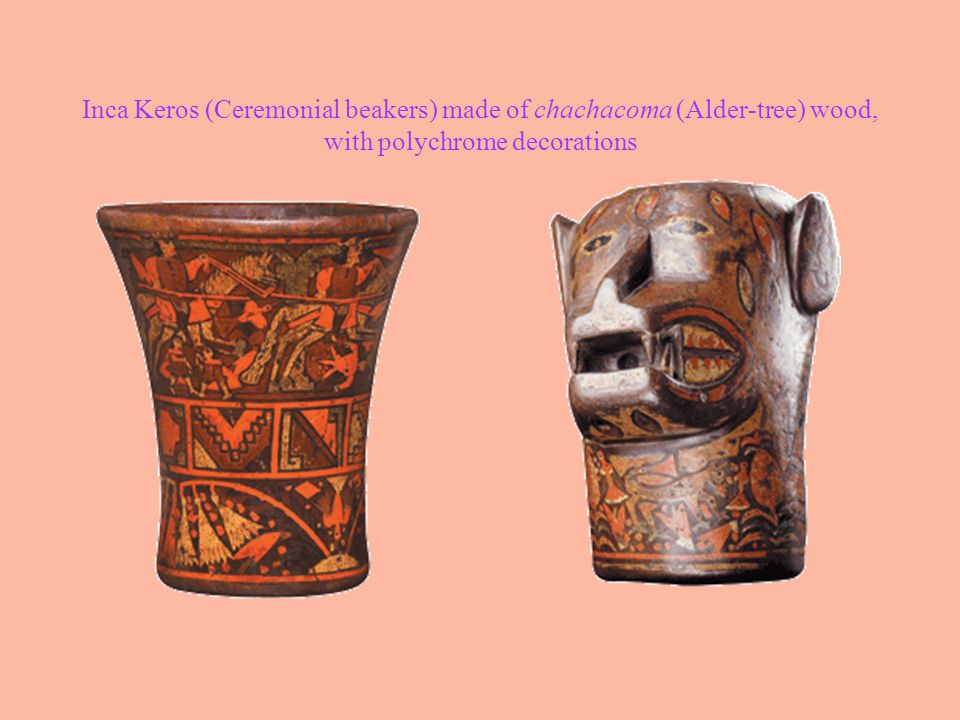 Inca Keros (Ceremonial beakers) made of chachacoma (Alder-tree) wood, with polychrome decorations